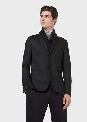 Emporio Armani Single-Breasted Jacket With Detachable Knit Collar