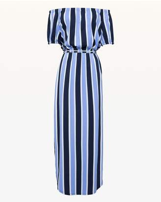 Juicy Couture Jxjc Striped Off The Shoulder Maxi Dress
