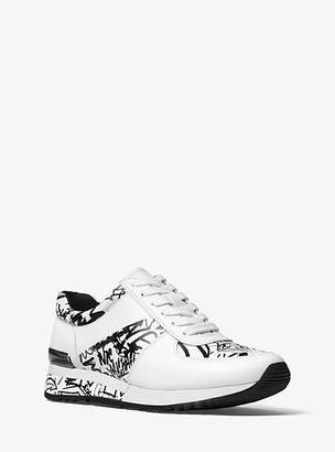 Michael Kors Allie Graffiti Leather Sneaker