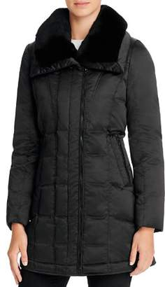 Trina Turk Adrianna Rabbit Fur Trim Down Coat