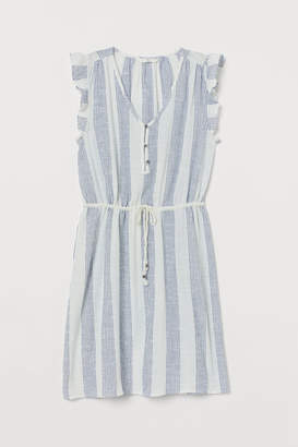 H&M Cotton Butterfly-sleeved Dress - White