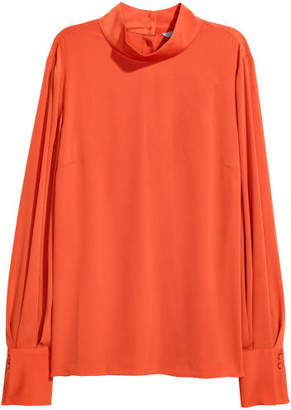 H&M Blouse with Stand-up Collar - Orange