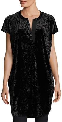 Joan Vass Crushed Stretch Velvet Relaxed Cap-Sleeve Tunic