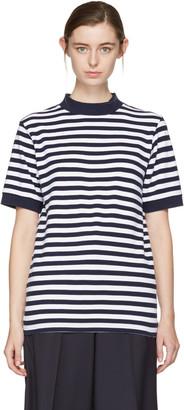 Blue Blue Japan Indigo & White Striped Mock Neck T-Shirt $200 thestylecure.com