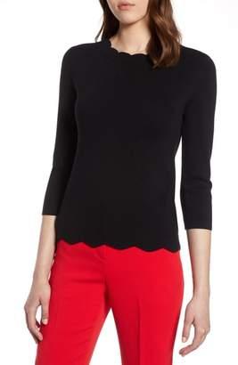 Halogen R Scallop Edge Sweater