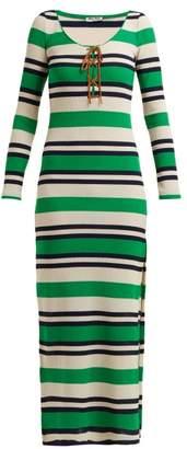 Miu Miu Striped Ribbed Jersey Dress - Womens - Green Stripe