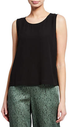 Eileen Fisher Sleeveless Short Silk Georgette Shell