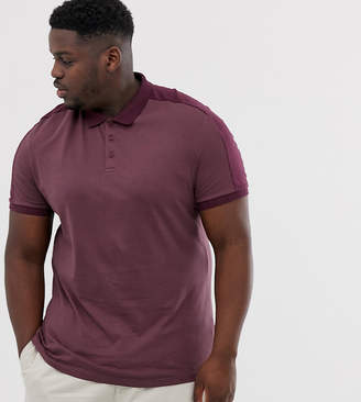 Asos Design DESIGN Plus organic polo shirt with contrast shoulder panel