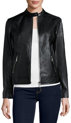 MICHAEL Michael Kors Faux-Leather Moto Jacket, Black $245 thestylecure.com