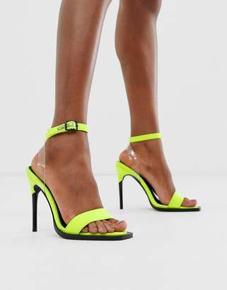 Barely There Asos Design ASOS DESIGN Harris heeled sandals in neon green