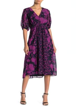 Gabby Skye 3/4 Sleeve Button Front Floral Dress