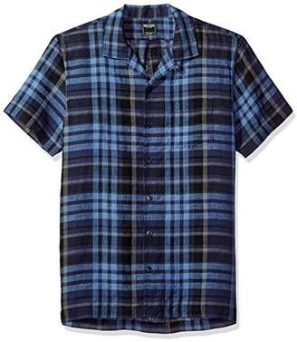 Todd Snyder Men's Short Sleeve Navy/Black Plaid Camp Collar Shirt
