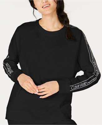 Calvin Klein Logo-Sleeve Fleece Sweatshirt
