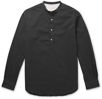 Officine Generale Auguste Slim-Fit Grandad-Collar Seersucker Shirt