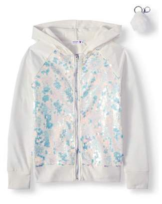 Beautees Sequin Paillettes Zip-Up Hoodie with Keychain (Big Girls)