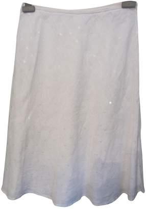 120% Lino White Linen Skirt for Women