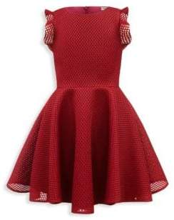 David Charles Girl's Lattice Scuba Dress