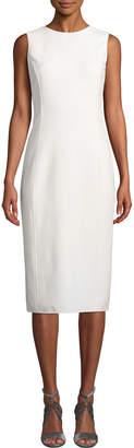 Oscar de la Renta Round-Neck Sleeveless Stretch-Wool Sheath Dress