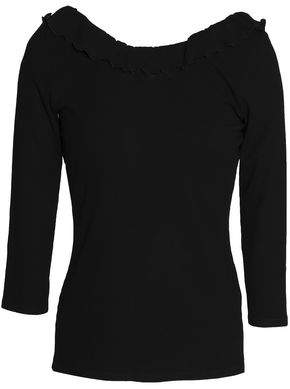 Claudie Pierlot Trevor Ruffle-Trimmed Ribbed-Knit Top