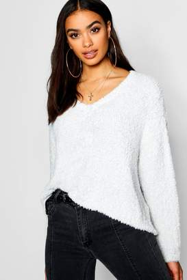 boohoo Oversized V-Neck Boxy Crop Fluffy Knitted Jumper