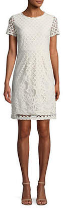 Dex Embroidered Lace Short-Sleeve Dress