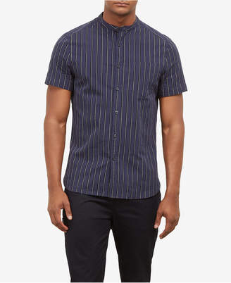 Kenneth Cole Men's Striped Band Collar Shirt