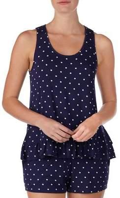 Kensie 2-Piece Polka Dot Pajama Tank Top & Boxer Shorts Set