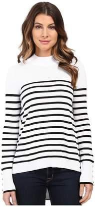 XOXO Stripe Zip Back Mock Neck Women's Sweater