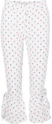 Sensi Studio - Palmas Cropped Ruffled Printed Poplin Straight-leg Pants - White