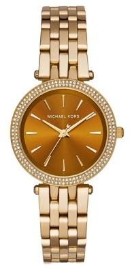 Michael Kors Women's Darci Diamond Amber Sunray Dial Gold-Tone Stainless Steel Bracelet Watch