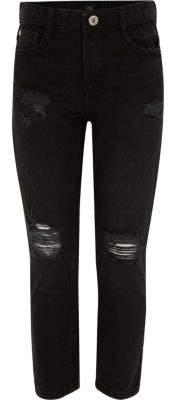 River Island Girls black Molly ripped straight leg jeans