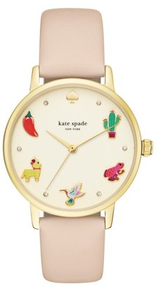 Women's Kate Spade New York Metro Novelty Leather Strap Watch, 34Mm $195 thestylecure.com