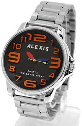 Alexis マットシルバーバンドラウンドPNPシャイニーシルバーの時計のケースメンズ・レディースファッションウォッチ