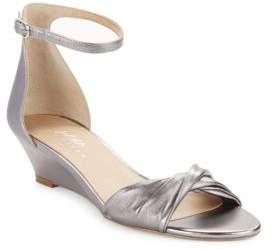 424 Fifth Chandra Metallic Leather Wedge Sandals