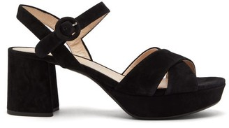 Prada Platform Suede Sandals - Womens - Black