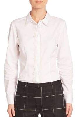 Elie Tahari Alondra Lace-Trimmed Long Sleeve Shirt