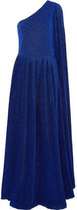 SemSem - One-shoulder Pleated Metallic Stretch-knit Jumpsuit - Royal blue