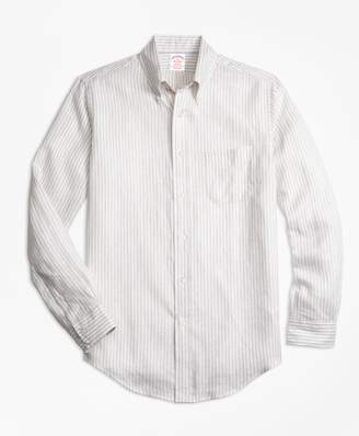 Brooks Brothers Regent Fit Safari Stripe Irish Linen Sport Shirt