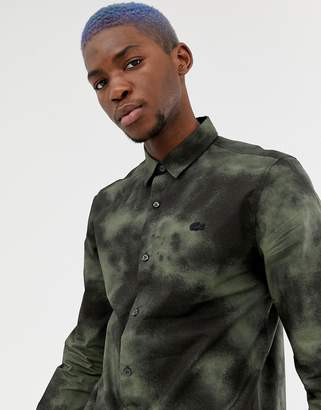 Lacoste Live L!VE skinny fit abstract shirt in black