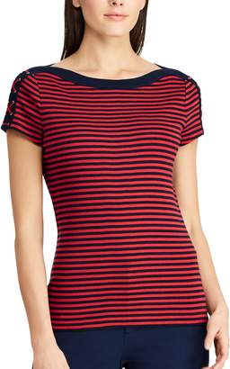 Chaps Women's Striped Lace-Up Shoulder Tee