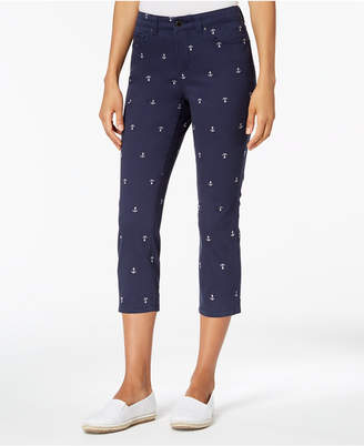 Charter Club Petite Anchor-Embroidered Capri Jeans, Created for Macy's