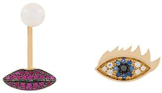Delfina Delettrez 18kt yellow gold, sapphire, diamond and ruby Anatomik lips piercing and eye earrings