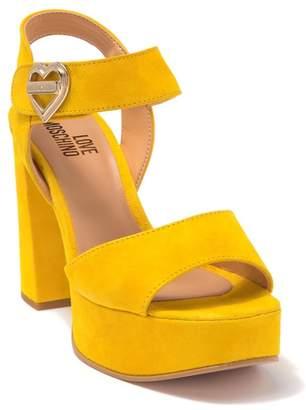 Love Moschino Suede Platform Heeled Sandal