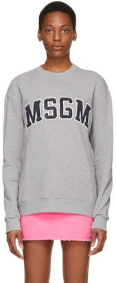 MSGM Grey College Logo Sweatshirt