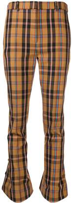 Rokh checked kick flare trousers
