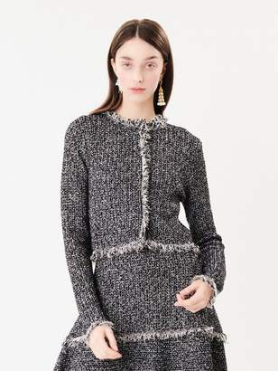 Oscar de la Renta Tweed Fringe Knit Jacket