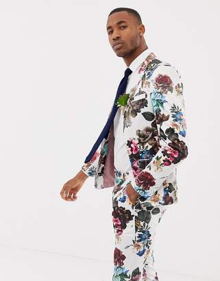 Asos Design DESIGN wedding skinny suit jacket with floral print