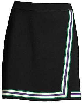 Sandro Women's Elodie Stripe-Trim Faux Wrap Skirt
