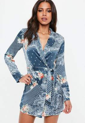 Missguided Blue Floral Print Belted Wrap Shift Dress