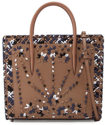 Christian Louboutin  Christian Louboutin Paloma Large Mexinodo Beaded Triple-Gusset Tote Bag, Beige/Blue